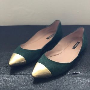Green Suede Flat with Gold Toe